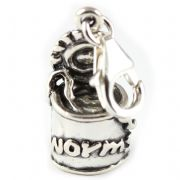 Can Of Worms 3D Sterling Silver Clip On Charm - With Clasp